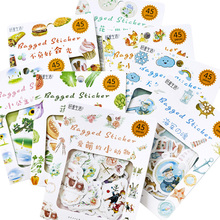 45pcs/pack Cartoon  Flowers Foods Animals Memo Stickers Pack Kawaii Planner Scrapbooking Escolar School Supplies