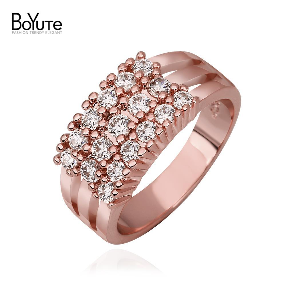 2016 new style cheap women finger rings wholesale 18k real gold plated luxury princess engagement rings - Cheap Real Wedding Rings