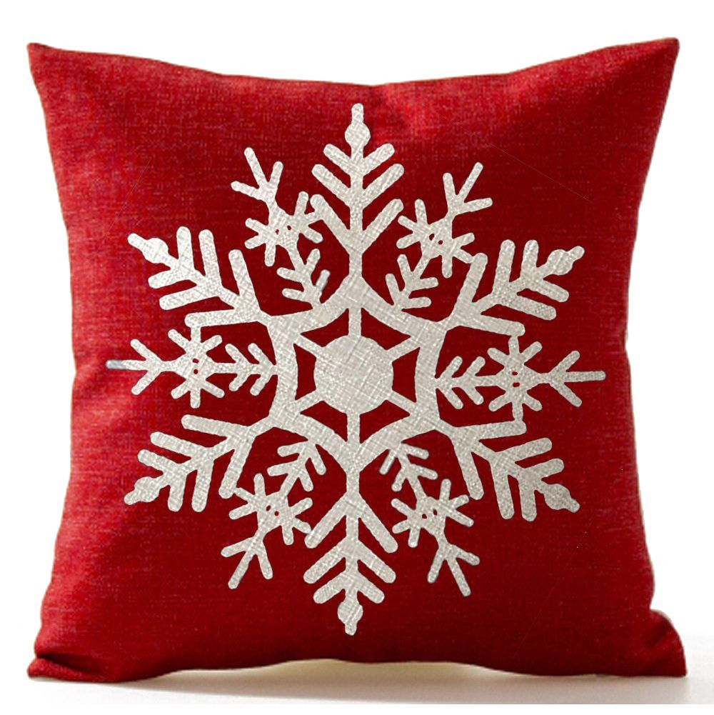 Boutique DODA Beautiful Snowflake In Red Merry Christmas Gifts flax Throw Pillow Cushion Cover Home Office Sofa Car Decor