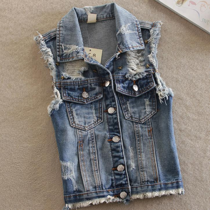Spring New  Chalecos Mujer Plus Size Denim Vest Cowboy Fashion Rivets Short Jacket