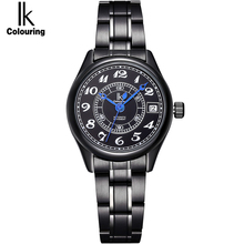 IK женские часы люксовый бренд Авто Дата Календарь группа автоматические самозаводные механические Женские часы с браслетом из нержавеющей стали