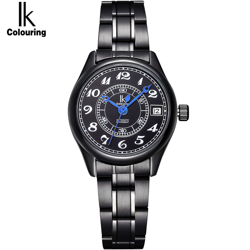 IK Women Watch Luxury Brand Auto Date Calendar Band Automatic Self-Wind Mechanical Female Clock With Stainless Steel Bracelet