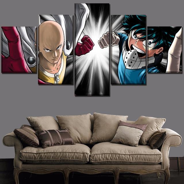 Set 5 Panel Boku no Hero Academia Izuku Midoriya And One Punch-Man Saitama Poster