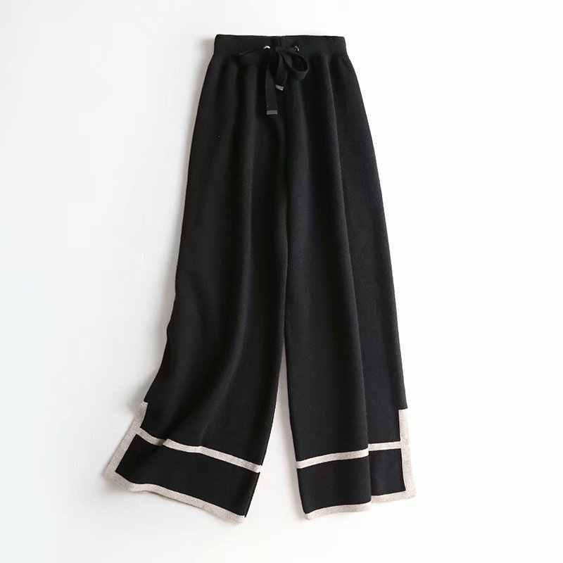 Kz789 여성 짧은 drawstring 허리 니트 넓은 다리 바지 숙녀 스트라이프 데코 스웨터 바지