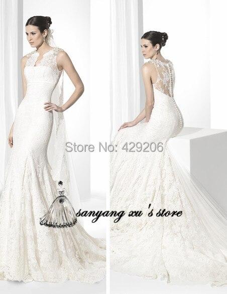 latest design beautiful sheath wedding dresses 2017 vestidos de novia v neck tank see through lace