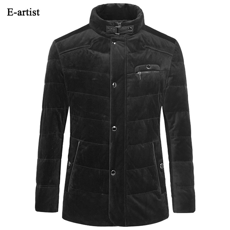 E-artist Mens Velvet Duck Down Jackets Coats Slim Fit Business Casual Male Parkas Outwear Overcoat for Winter Plus Size 5XL Y41