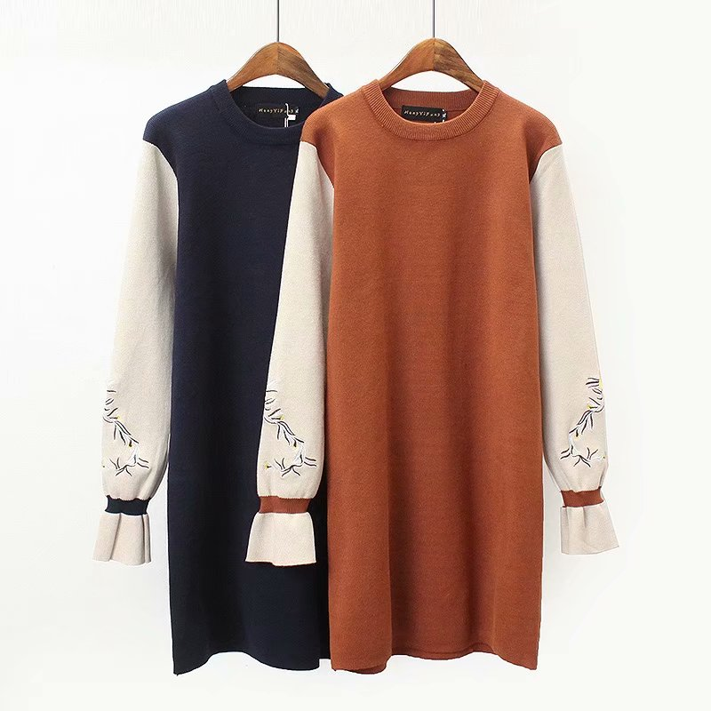 Plus size Patchwork Butterfly sleeve women long pullovers sweater dress 2019 spring Embroidery O neck knitted ladies sweaters