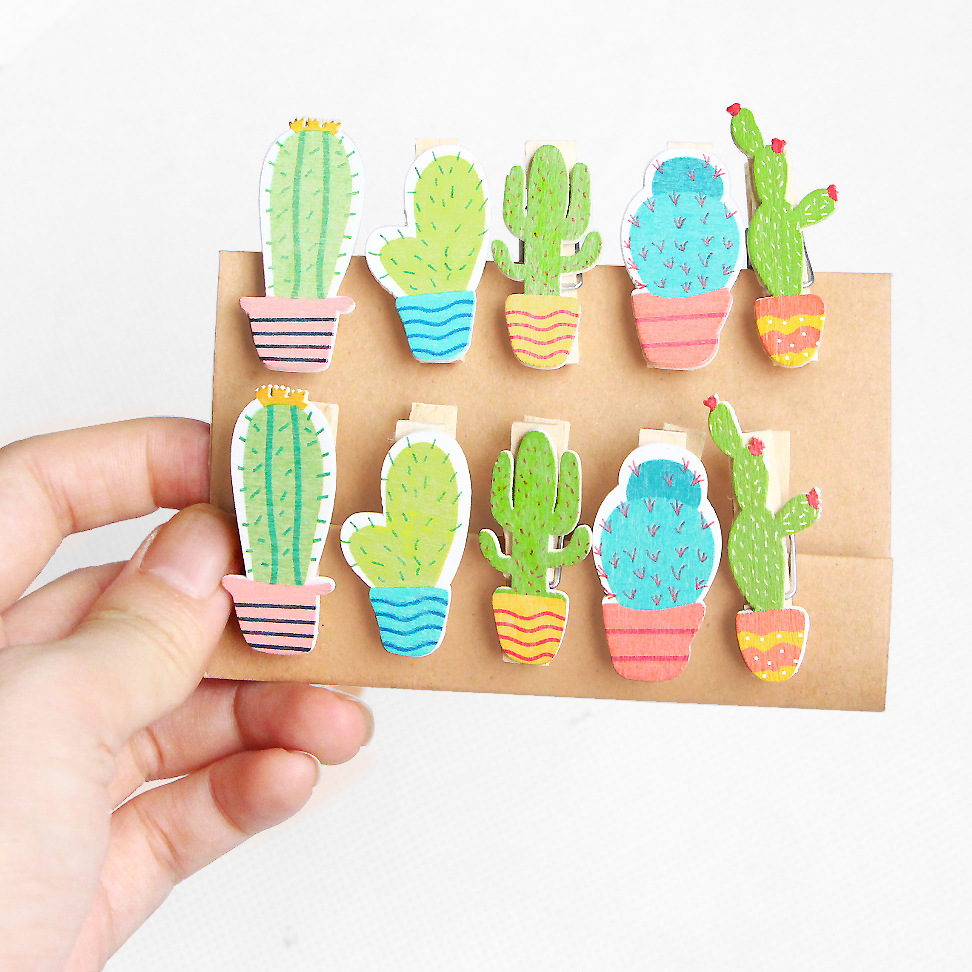 10 Pcs/pack Cactus Wooden Clip Photo Paper Craft DIY Clips Binder With Hemp Rope