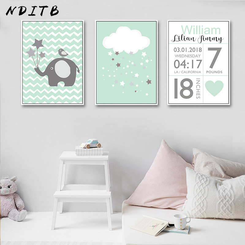 Us 5 74 Nditb Birth Stats Custom Poster Nursery Wall Art Canvas Print Cartoon Painting Nordic Decoration Picture For Baby Bedroom In