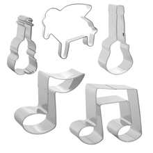 Music Note Cookie Cutter Set-5pcs-Guitar,Violin,Piano,Quaver,Two Octaves-Stainless Steel Decorating Tools Fondant Cutters Mold