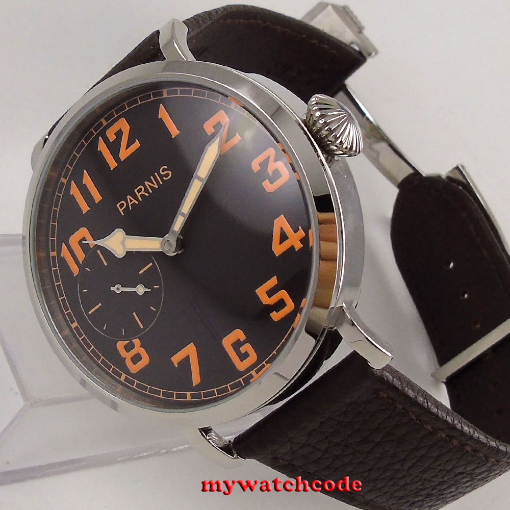 Polished 46mm parnis black dial leather strap 6497 hand winding mens watch P274B цена и фото