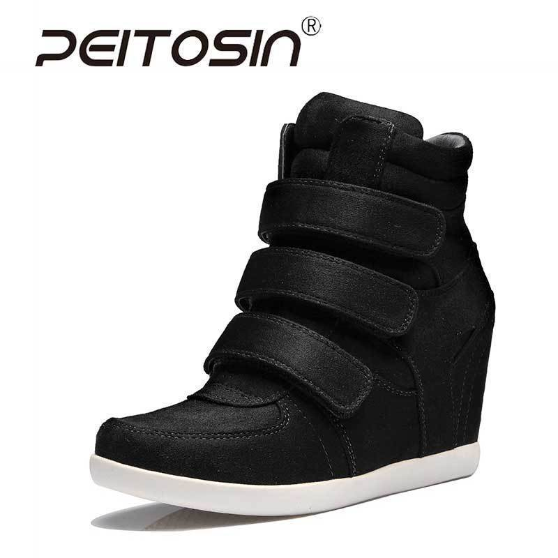 PEITOSIN NEW 2018 Wedges Sneakers for Women High-Top Platform Shoes Hidden Heels Woman Casual Ladies Shoes Female Size 35-39 large size 8cm high 2016 women casual canvas shoes woman platform wedges high top with zippers ladies zapatos mujer espadrilles
