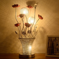Creative Aluminum vase table lamps bedroom bedside crystal table light eye protection red rose wedding birthday gift ZA1026631