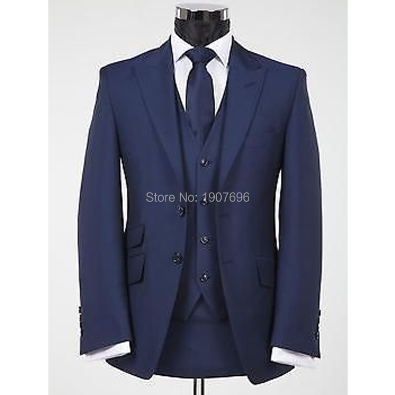 Navy Blue Formal Men Suits For Wedding Evening Party Groom Tuxedo Peaked Lapel 3 Piece Male Clothes Set Jacket Pants