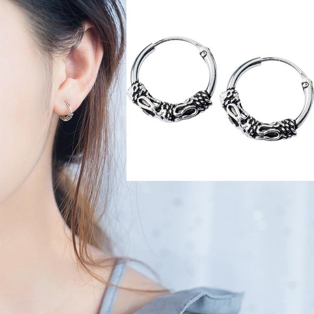 ad1686b4c 925 sterling Silver Trendy Vintage Hoop Ring Sleeper Earrings Ethnic Boho Bali  Balinese silver earring