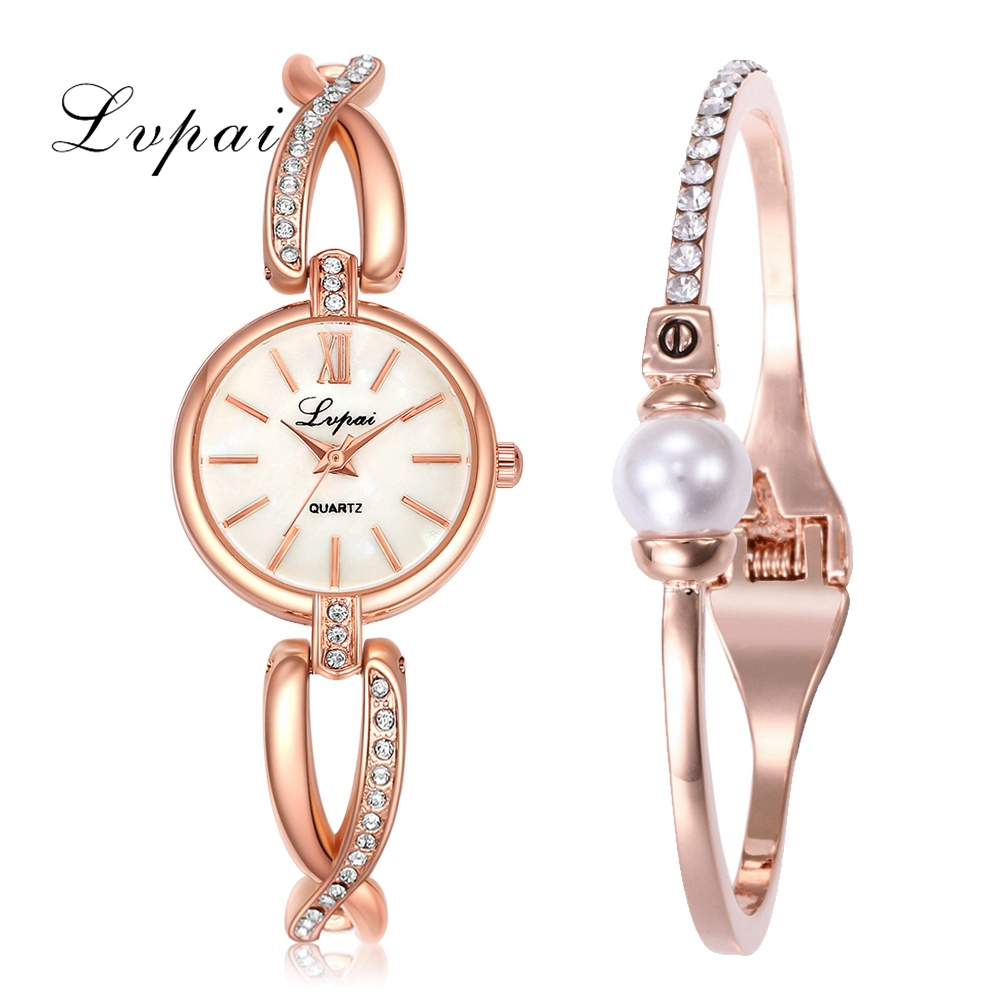 Lvpai Brand Watches Set Women Bracelet Jewerly Dress Quartz Wrist Watch Luxury Pearl Crystal Creative Clock Fashion Ladies Watch mjartoria women bracelet watch set bangles crystal jewelry steel watch quartz wrist dress ladies watches for best gifts decor