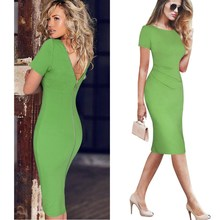 2019 Women Elegant Ruched Sexy Dress Back Zipper Work Business Office Party Club Bodycon