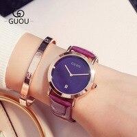 GUOU Brand Women Simple Fashion Stainless Steel Ladies Quartz Watches Luxury Exquisite Leather Calendar Ladies Wristwatch