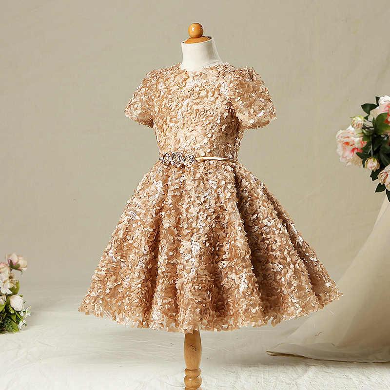 bd92cbd28e Gold Vintage Flower Girls Dresses For Weddings Ball Gown Appliques ...