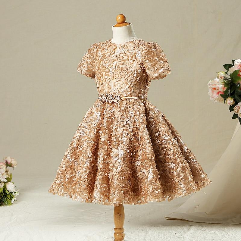 Gold Vintage Flower Girls Dresses For Weddings Ball Gown Appliques Princess Girls Dress Kids Girl Evening Party Dress A38 girl