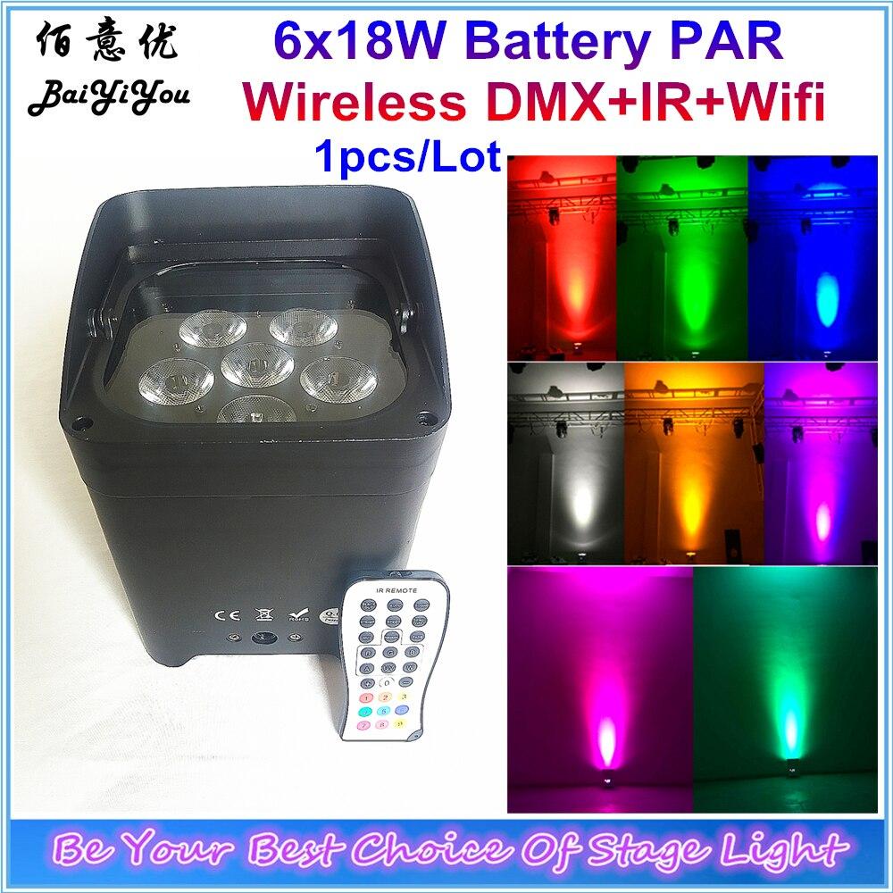 Up Wash Light 6pcs 18w RGBWA UV 6 IN 1 Wifi Led Battery Wireless DMX Freedom