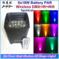 Up Wash Light 6 pcs * 18 w RGBWA + UV 6 IN 1 Wifi Led แบตเตอรี่ไร้สาย DMX Freedom par Light พร้อม IR Remote App โทรศัพท์สำหรับ DJ Disco