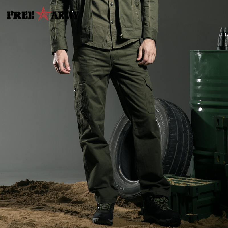 Outdoors Olive Green Pants Mens Cargo Pants Winter Pants Brand Casual Patch Pocket Fitted Joggers Green Overalls Pants Mk-7151A