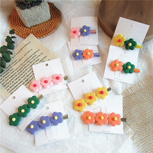 Korean Beautiful Cute Soft Pottery Small Flowers Elastic Hair Bands for Girl Women Fashion Colorful Hairpins Accessories