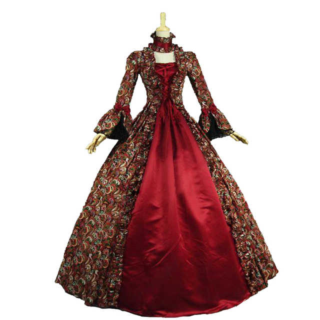 Gothic Red Printing Long Sleeves 18th Century Historical Stage ...