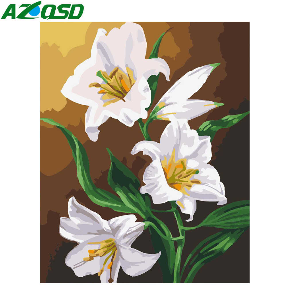 AZQSD Frameless Lily Flowers DIY Painting By Numbers Handpainted Oil Painting Acrylic Paint On Canvas For Home Decor 40x50 A524