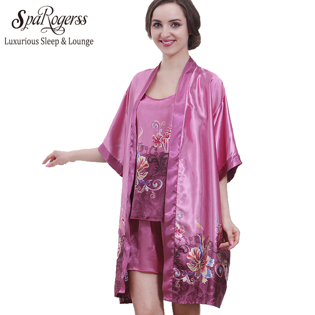 Top Promotion Summer Robe Longue Of Dress Gowns For Women 3 piece Plus Size Satin Bathrobe Sets 10089