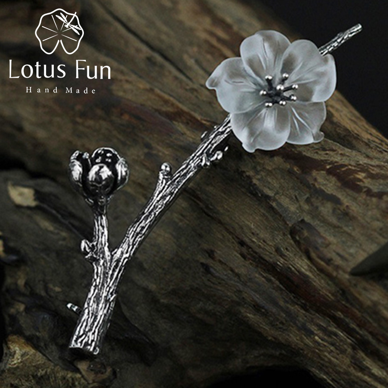 Lotus Fun Real 925 Sterling Silver Brooch Natural Quartz Handmade Fine Jewelry Flower in the Rain Design Women Brooches Pin lotus fun real 925 sterling silver handmade fine jewelry natural crystal lily of the valley flower brooches for women brincos