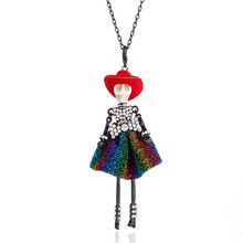 цена на Rhinestone Bowtie Yarn Dress Skull Doll Pendant Neclace Long Chain Hat Girl Choker Necklaces For Women Halloween Party Jewelry