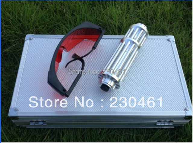 30000mW 10W Gatling style 445nm burning blue laser pointer torch with focusable lens light candles on fire