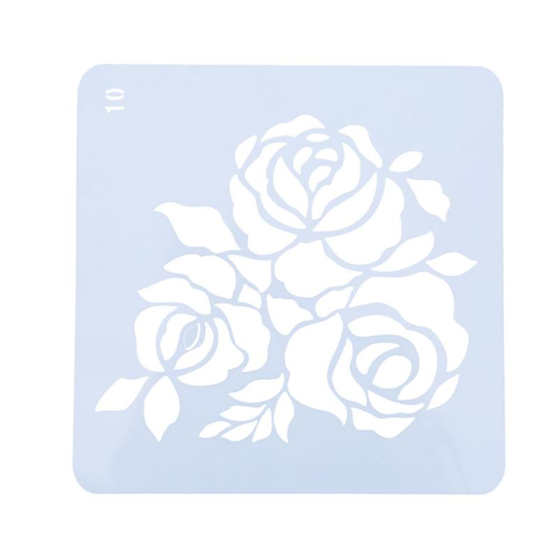 Rose Flower Template Art Craft Stencils Stamps For Walls DIY Scrapbooking Photo Book Album Scrap Paper Painting Stationery Gift cutiepie kinds of 0 9 numbers transparent clear stamps for scrapbooking diy silicone seals photo album embossing folder stencils