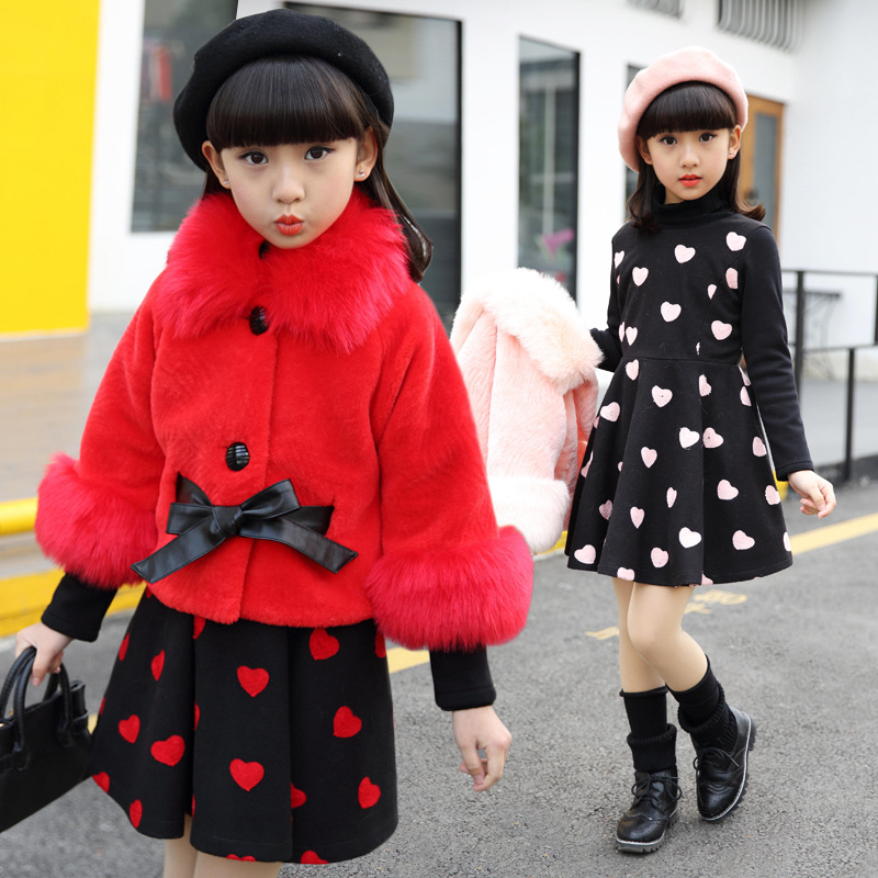 Children clothing winter dress and fur coats red white pink 2017 fashion cute for 4 5 6 7 8 9 10 11 12 13 14 years teenager girl lf40203 sexy white pink blue strappy heart heel wedge wedding sandals sz 4 5 6 7 8 9 10