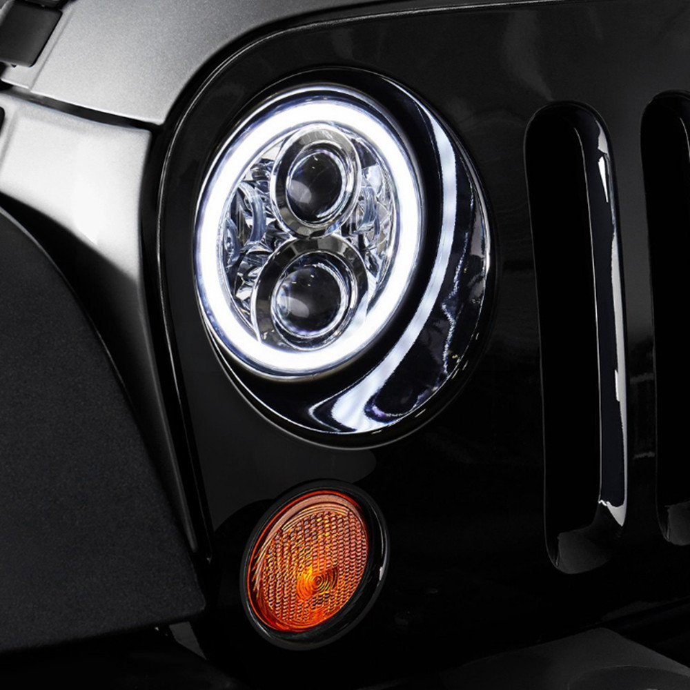 Daymaker 120W 7inch Full Halo Headlights DRL Angel Eyes w/ Amber Turn Signal For 97-17 Jeep Wrangler TJ JK & Unlimited