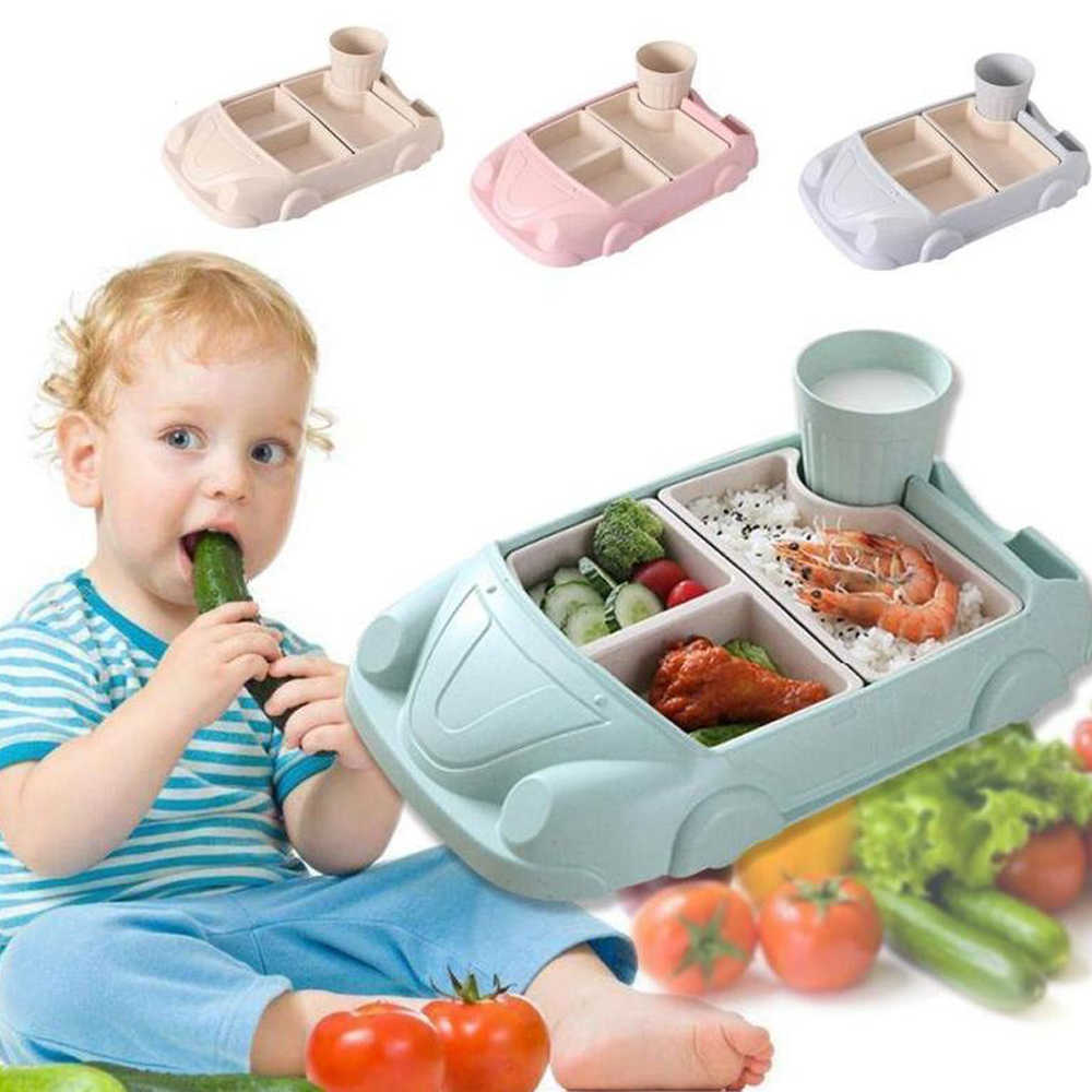 Baby Food Containers Lunch Box Bamboo Fiber Baby feeding Bento Box Plate Car shape Bowl Cup Sets Children Tableware for Kids