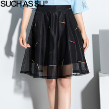 SUCH AS SU New 2017 Fashion Women Black Mesh Embroidery Skirt Spring Summer Knee-Length Tulle Skirt S-3XL Female Pleated Skirt