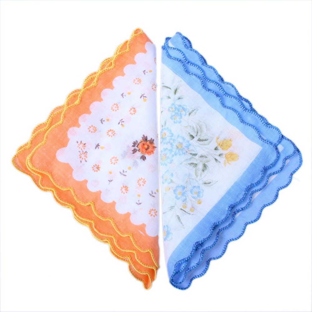 Hot Sale!NEW 10pcs/LOT CUTTER LADIES Grils VINTAGE COTTON HANKY FLORAL HANDKERCHIEF