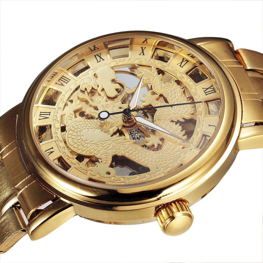 SEWOR Chinese Dragon Skeleton Hollow Fashion Mechanical Hand Wind Man Clock Luxury Male Business Gold Steel Wrist Military Watch ks black skeleton gun tone roman hollow mechanical pocket watch men vintage hand wind clock fobs watches long chain gift ksp069