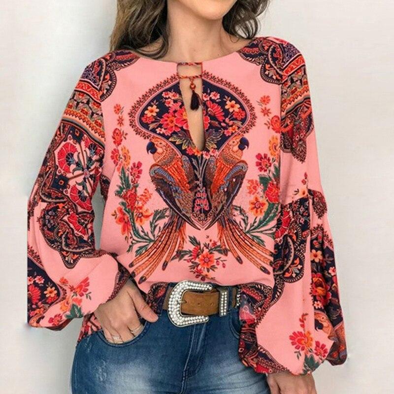 VIEUNSTA 2019 Boho Blouse Floral Print Lantern Sleeve Shirt Sexy Lace-up Tassel O Neck Women Tops Spring Summer Chic Blouses 5XL