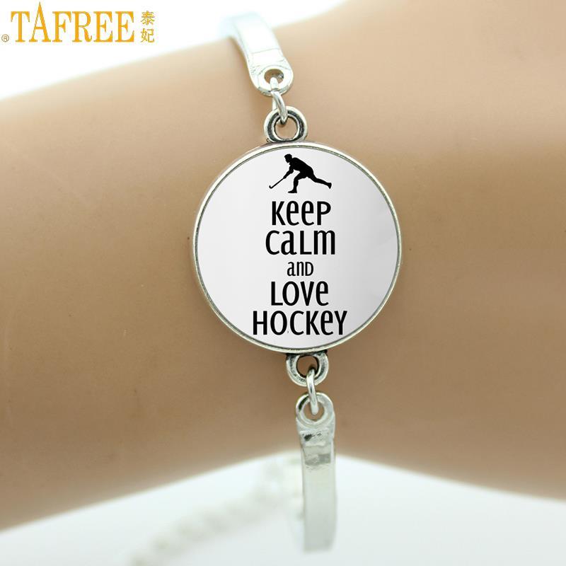 Tafree Brand Jewelry Keep Calm And Like Hockey Bracelet Gl Cabochon Dome Field Player Charms Jewellery Bracelets Sp481