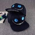 Высокое Качество НОВЫХ Людей Черный Snapback Шляпы Алиса в Стране Чудес Чеширский кот бейсболки Регулируемая Унисекс Хип-Хоп Шапки