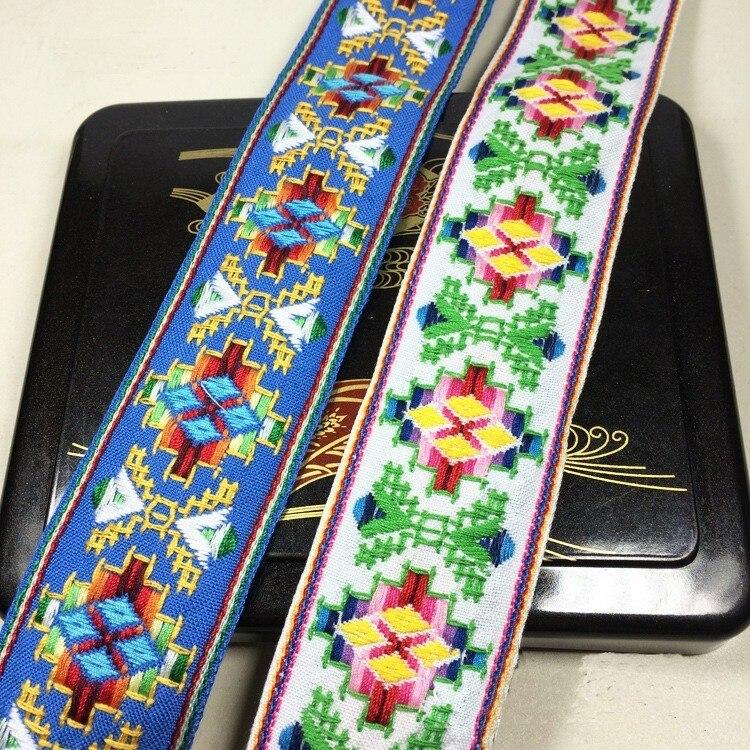 Miao Borduurwerk Etnische Jacquard Singels Geweven Tape Kant Lint 4.8 Cm Kledingstuk Tas Accessoire Gift Decoratie Boho Gypsy Diy Tribal