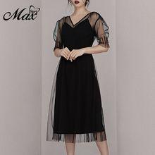 Max Spri 2019 New Sexy Mesh V Neckline Little Black Dress Midi Dress Party Vestidos Women Outfit mondor 12902 fantasy on ice mesh neckline dress