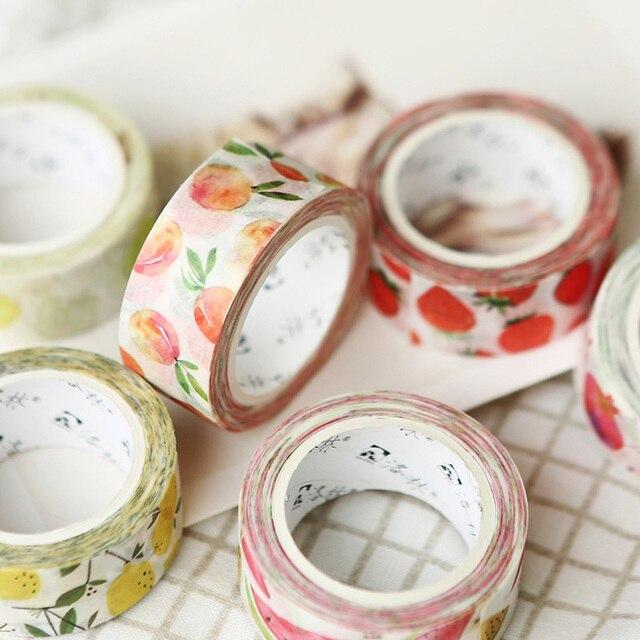 1 PC Kawaii fruta adhesiva Washi cinta DIY cinta adhesiva decorativa para el diario Scrapbooking Decoración Oficina escuela suministros