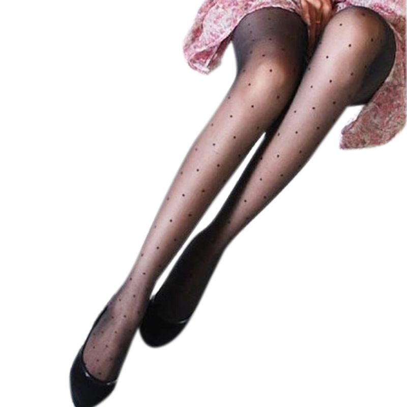 Women Sexy See Through Perspective Pantyhose Covering Yarn Small Wave Point Dots Footed Tights Stockings Slim Lingerie Solid Bla