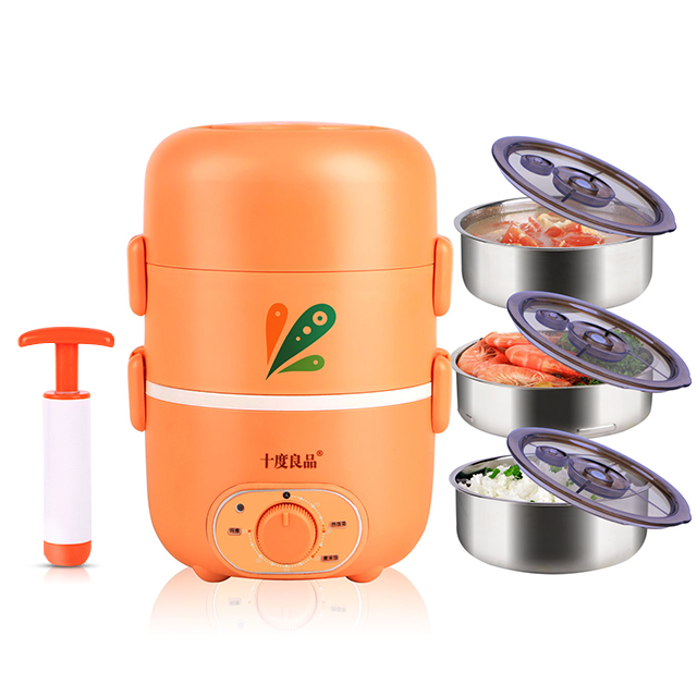 Electric Heating Lunch Box Lunch Box Three Layers Stainless Steel Insulation Food Container Timing Cooking Electric Rice Cooker three layers 2 2l electric lunch box stainless steel plug in insulation heating lunch box cooking high capacity mini cooker
