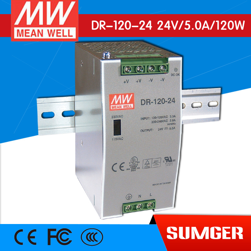 ФОТО [Freeshiping 1Pcs] MEAN WELL original DR-120-24 24V 5A meanwell DR-120 24V 120W Single Output Industrial DIN Rail Power Supply